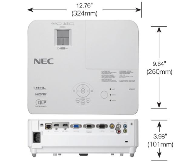 تصویر ابعاد ویدئو پروژکتور NEC-V302XG