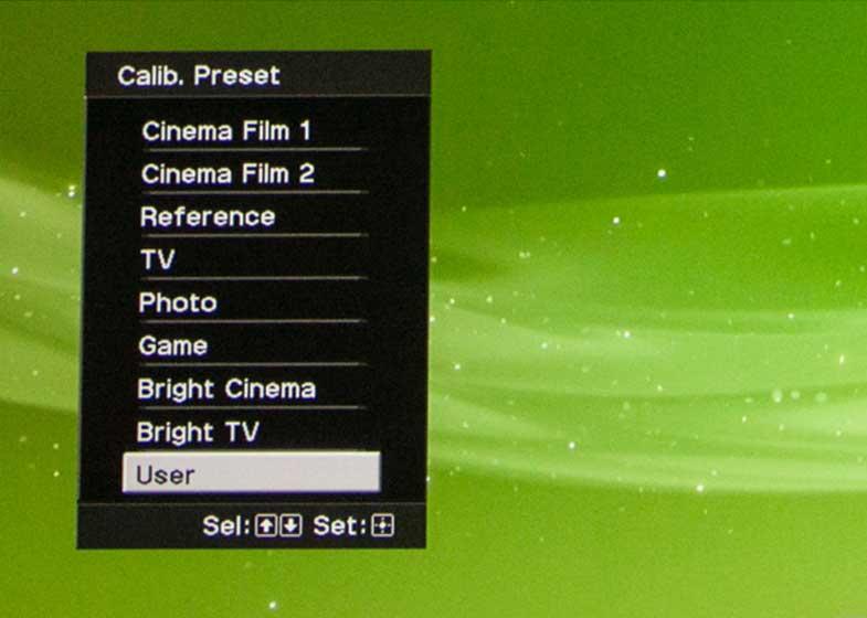 تصویر منوی تنظیمات کالیبره کردن رنگ در پروژکتور SONY HW40ES