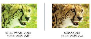 تفاوت تصویر قبل و بعد از استفاده از تنظیمات Wall Color